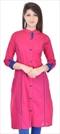 1538632: Designer Pink and Majenta color Kurti in Cotton fabric with Thread work