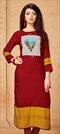 1540222: Casual Red and Maroon color Kurti in Rayon fabric with Printed work