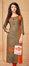 1540223: Casual Black and Grey color Kurti in Rayon fabric with Printed work