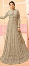1542380: Party Wear Beige and Brown color Salwar Kameez in Net fabric with Abaya, Anarkali Bugle Beads, Embroidered, Lace, Thread work