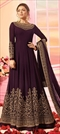1542381: Party Wear Purple and Violet color Salwar Kameez in Georgette fabric with Abaya, Anarkali Embroidered, Thread, Zari work