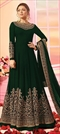 1542383: Party Wear Green color Salwar Kameez in Georgette fabric with Abaya, Anarkali Embroidered, Thread, Zari work