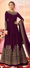 1542385: Party Wear Purple and Violet color Salwar Kameez in Georgette fabric with Abaya, Anarkali Embroidered, Thread, Zari work