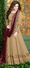 1544790: Mehendi Sangeet Beige and Brown color Salwar Kameez in Georgette fabric with Abaya, Anarkali Embroidered, Resham, Stone, Thread, Zari work
