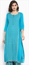 1546970: Casual Blue color Kurti in Rayon fabric with Printed work