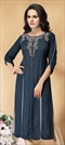 1547059: Casual Blue color Kurti in Georgette fabric with Printed, Stone work