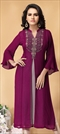 1547064: Casual Pink and Majenta color Kurti in Georgette fabric with Embroidered, Stone, Thread work