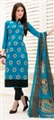 466901 Blue  color family Party Wear Salwar Kameez in Chanderi fabric with Machine Embroidery, Resham, Thread work .