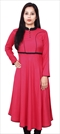 468083 Pink and Majenta  color family Anarkali style Kurtis in Rayon fabric with Thread work .
