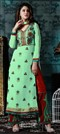 472697 Green  color family Party Wear Salwar Kameez in Faux Georgette fabric with Lace,Machine Embroidery,Stone,Thread work .