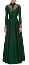 901466 Green  color family Anarkali Suits in Silk fabric with Machine Embroidery, Thread work .