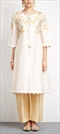 901468 White and Off White  color family Party Wear Salwar Kameez in Silk fabric with Machine Embroidery, Sequence, Thread work .