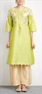 901469 Green  color family Party Wear Salwar Kameez in Silk fabric with Machine Embroidery, Sequence, Thread work .