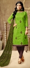 903363 Green  color family Party Wear Salwar Kameez in Silk cotton fabric with Machine Embroidery, Thread work .
