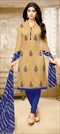 903365 Beige and Brown  color family Party Wear Salwar Kameez in Silk cotton fabric with Thread work .