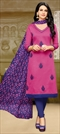 903369 Pink and Majenta  color family Party Wear Salwar Kameez in Silk cotton fabric with Thread work .