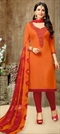 903372 Orange  color family Party Wear Salwar Kameez in Silk cotton fabric with Thread work .