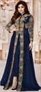 904277 Blue  color family Bollywood Salwar Kameez in Georgette fabric with Machine Embroidery, Stone, Thread, Zari work .