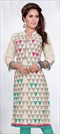 904934: Casual Beige and Brown color Kurti in Cotton fabric with Printed work