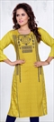 904941 Yellow  color family Printed Kurtis in Rayon fabric with Printed work .