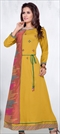 904943 Yellow  color family Kurti in Cotton fabric with Machine Embroidery,Resham,Thread work .