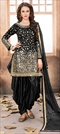 905455 Black and Grey  color family Party Wear Salwar Kameez in Taffeta Silk fabric with Mirror, Thread, Zari work .