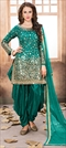 905456 Green  color family Party Wear Salwar Kameez in Taffeta Silk fabric with Mirror, Thread, Zari work .