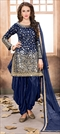 905457 Blue  color family Party Wear Salwar Kameez in Taffeta Silk fabric with Mirror, Thread, Zari work .