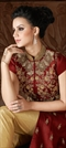 905677: Red and Maroon color Salwar Kameez in Art Silk, Net fabric with Machine Embroidery, Patch, Sequence, Thread work