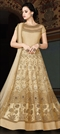 905679 Beige and Brown  color family Anarkali Suits in Net fabric with Lace,Machine Embroidery,Sequence,Thread,Zari work .
