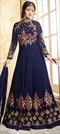 906481 Blue  color family Bollywood Salwar Kameez in Faux Georgette fabric with Machine Embroidery, Resham, Stone, Thread work .