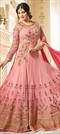 906482 Pink and Majenta  color family Bollywood Salwar Kameez in Faux Georgette fabric with Machine Embroidery, Resham, Stone, Thread work .