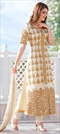 906947 White and Off White  color family Party Wear Salwar Kameez in Cotton fabric with Machine Embroidery, Stone, Thread, Zari work .
