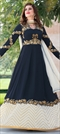 906950 Blue  color family Anarkali Suits in Faux Georgette fabric with Machine Embroidery, Stone, Thread, Zari work .