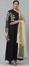 906951 Black and Grey  color family Party Wear Salwar Kameez in Faux Georgette fabric with Machine Embroidery, Stone, Thread, Zari work .