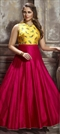 908324 Pink and Majenta, Yellow  color family gown in Bangalore Silk fabric with Machine Embroidery, Resham, Thread work .