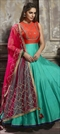 908326 Blue,Orange  color family gown in Art Silk fabric with Machine Embroidery,Sequence,Thread work .