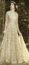 908787 Beige and Brown  color family Anarkali Suits in Net fabric with Machine Embroidery, Sequence, Thread, Zari work .