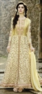 908791 Beige and Brown  color family Anarkali Suits in Net fabric with Machine Embroidery, Resham, Thread work .