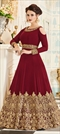 909266: Red and Maroon color Salwar Kameez in Georgette fabric with Embroidered, Stone, Thread, Zari work