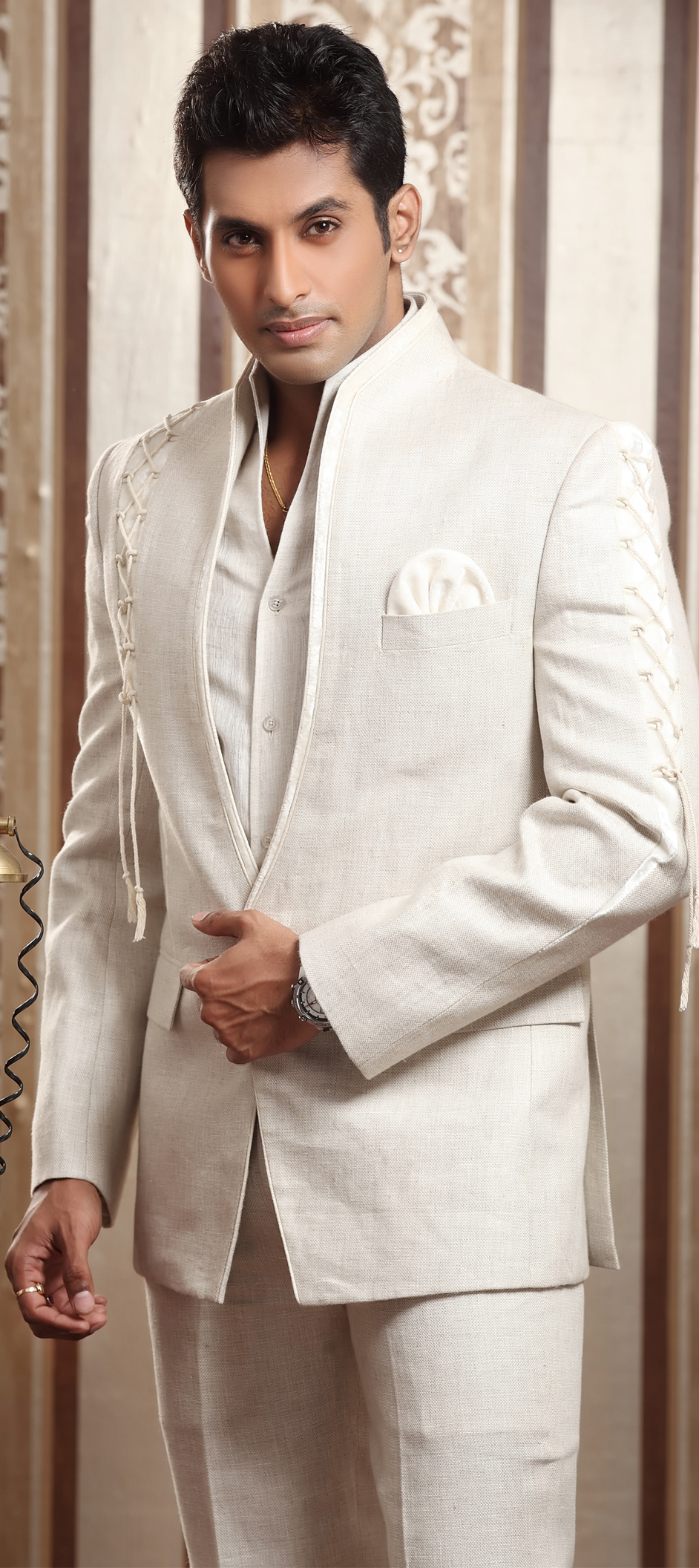 12687: White and Off White color family stitched 2 Piece Suit ...