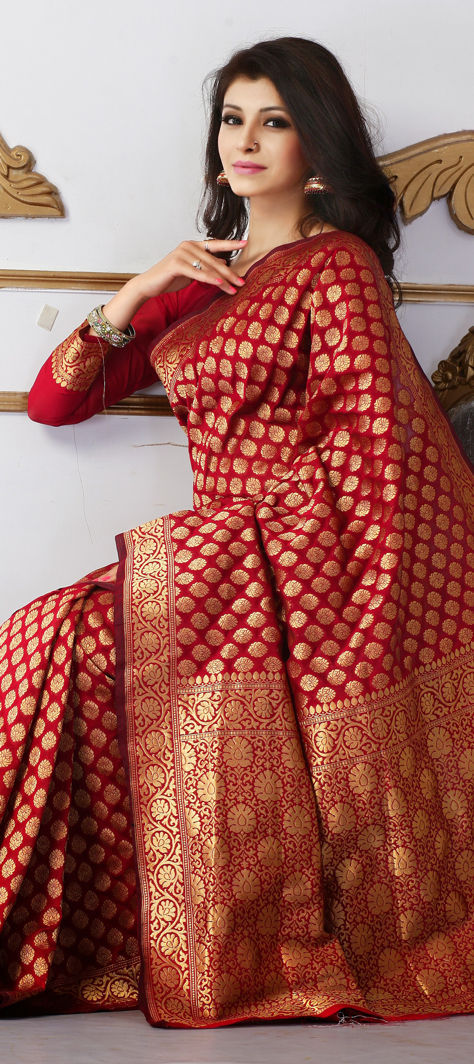 136856: Red and Maroon color family Party Wear Sarees with matching ...