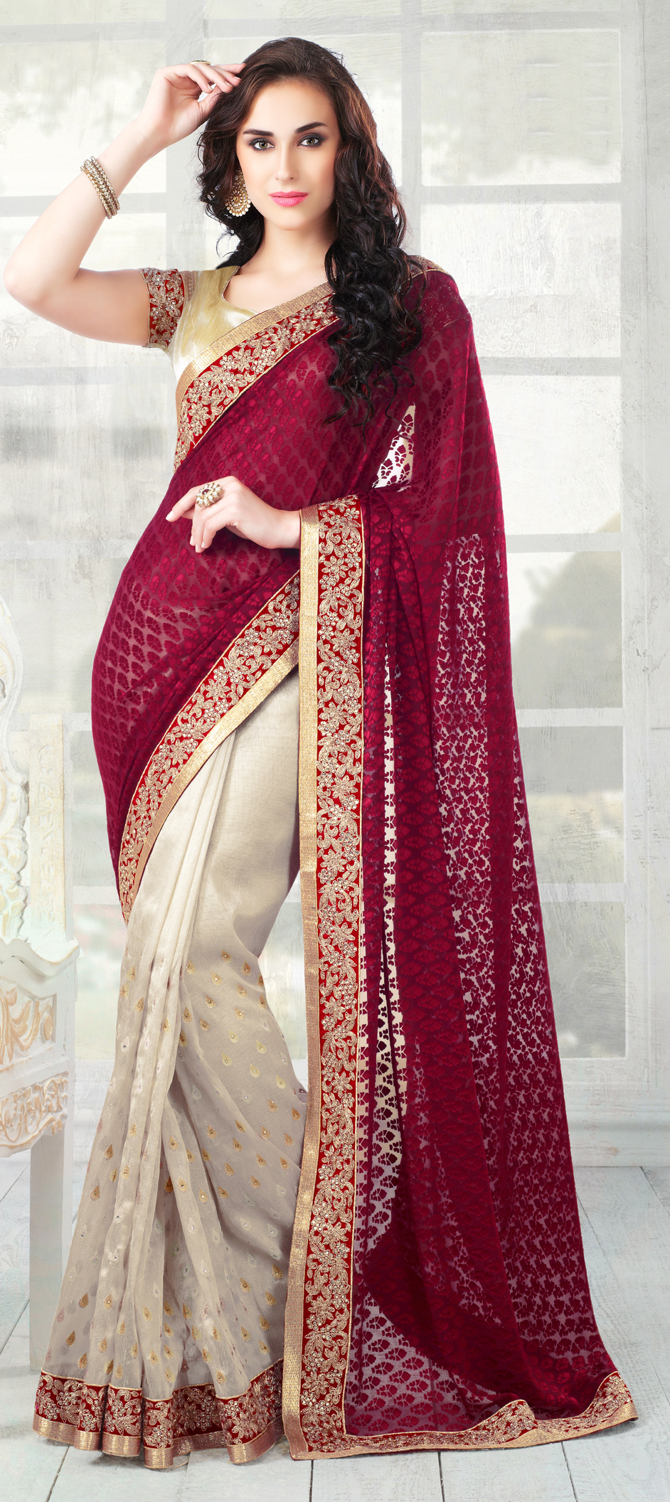 146716: Red and Maroon, Beige and Brown color family Saree with ...
