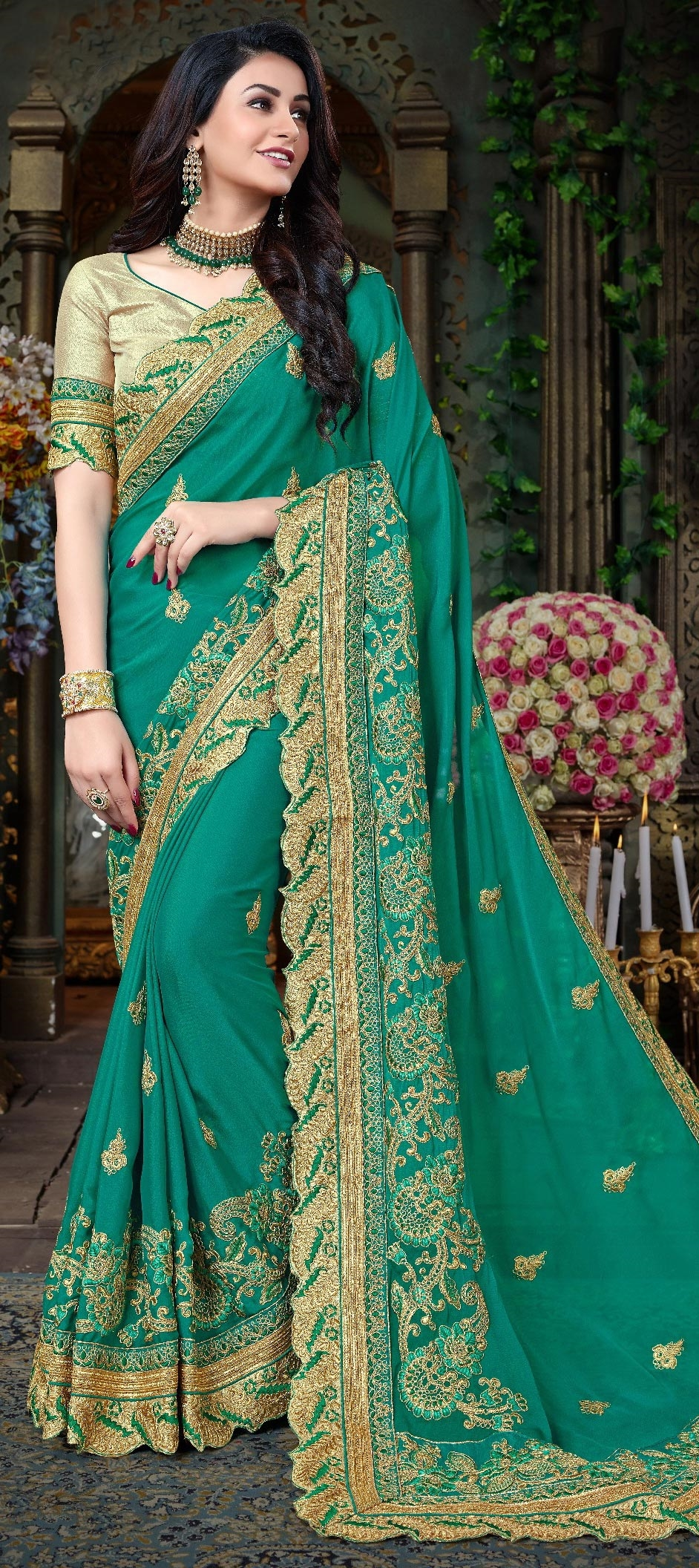 embroidery wedding sarees