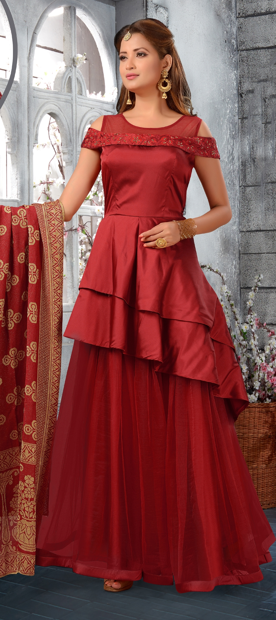1508367: Festive, Party Wear Red and Maroon color Taffeta Silk ...