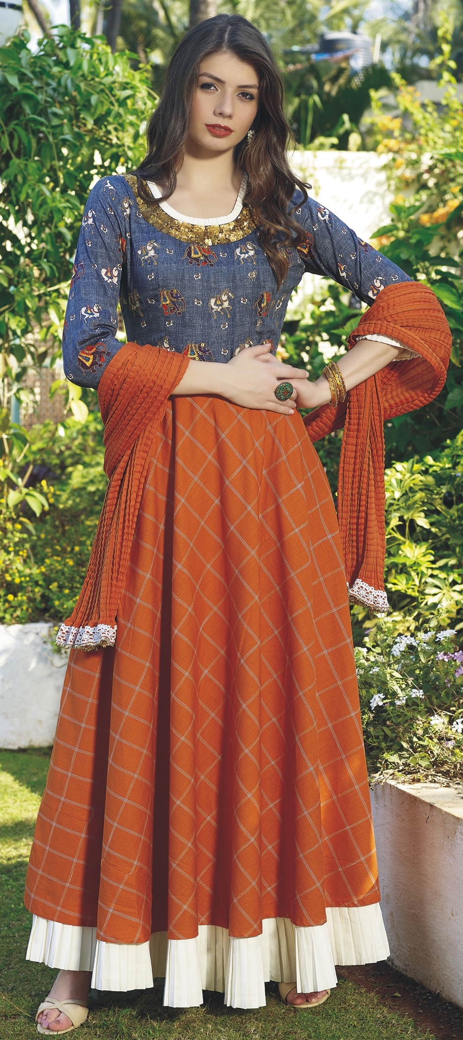 printed multicolour salwar suits