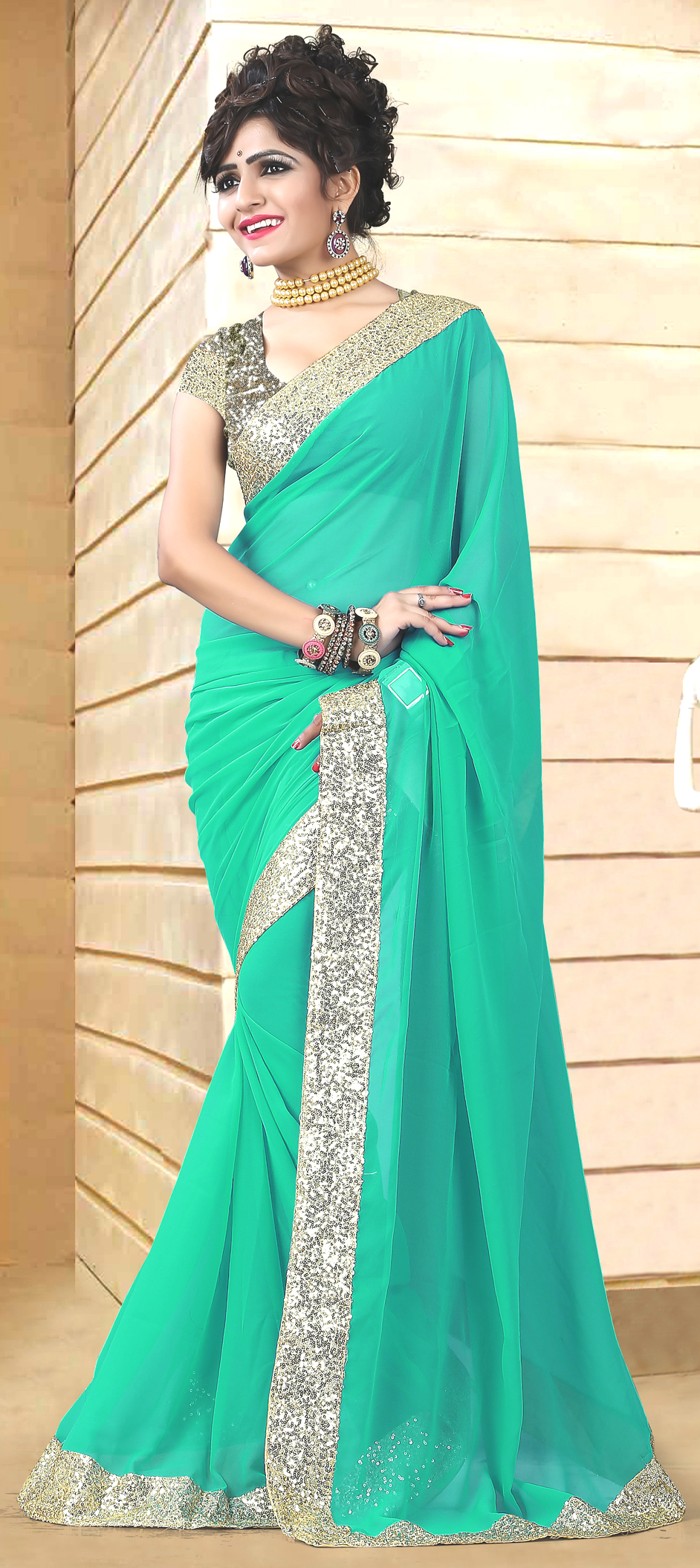 165128: Green color family Party Wear Sarees with matching ...