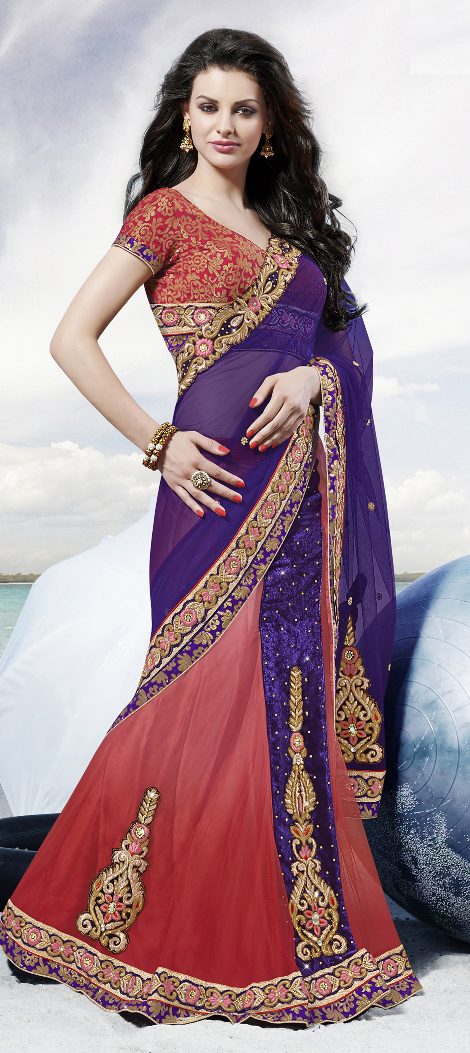 166204: Red and Maroon, Purple and Violet color family Saree with ...