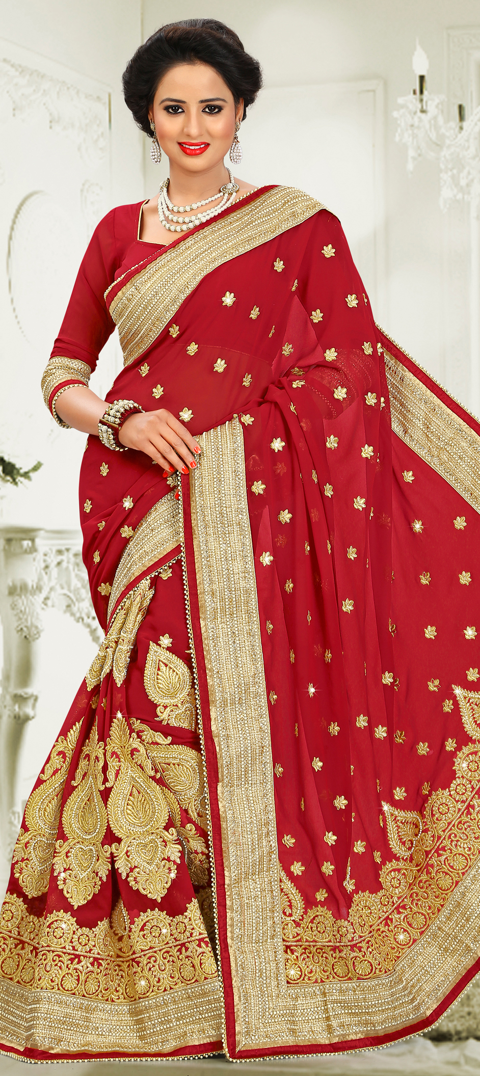 180401: Red and Maroon color family Bridal Wedding Sarees,Party Wear ...