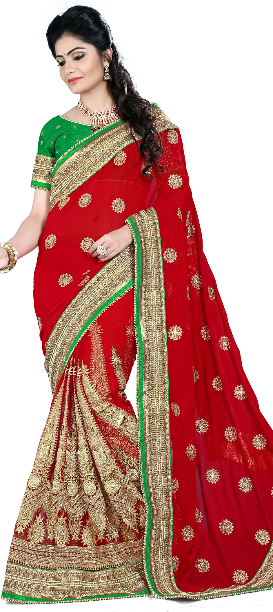183409: Red and Maroon color family Embroidered Sarees, Party Wear ...